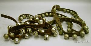 Two Leather Straps of Silvered Metal Sleigh Bells
