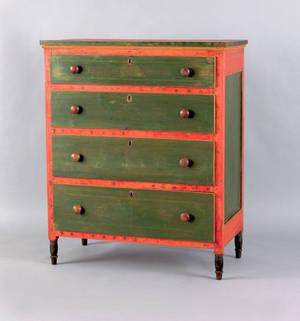Mahantongo Valley Pennsylvania painted pine chest of drawers ca 1830