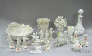 Twentythree Pieces of White Glazed Ceramic and White Glass Table Items
