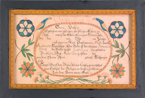 Berks County Pennsylvania ink and watercolor fraktur early 19th c