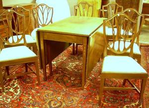Federalstyle Inlaid Mahogany Dropleaf Dining Table and a Set of Six Potthast Federalstyle Inlaid Mahogany Dining Chairs
