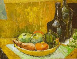 Framed Oil on Board Still Life with Bottles and Bowl of Fruit