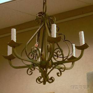 Green Painted Wrought Iron Sixlight Chandelier