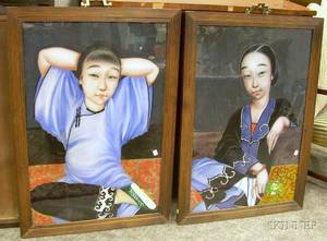 Pair of Chinese Hardwood Framed Reversepainted Portraits on Glass Depicting Young Women