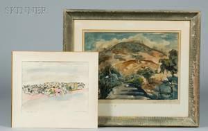 Mordechai Avniel Israeli 19001989 and IsraeliAmerican School 20th Century Two Watercolors Mt Carmel