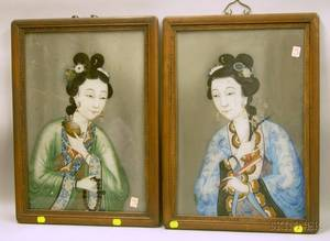 Pair of Chinese Framed Reversepainted Portraits on Glass