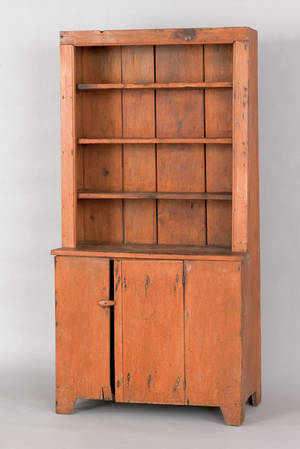 New England pine stepback cupboard 19th c