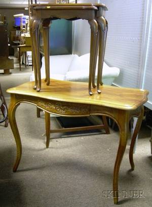 Louis XV Style Walnut Writing Table and Two Nesting Queen Anne Style Inlaid Stands
