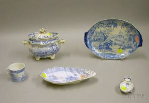 Five Pieces of English Blue and White Staffordshire Tableware