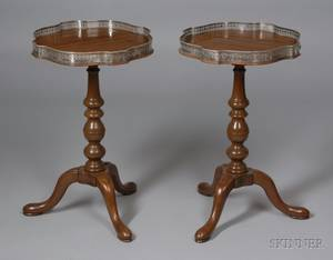 Pair of Small George II Style Pierced Silver Plate Mounted Mahogany and Mahogany Veneer Serpentine Stands