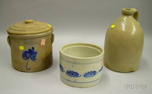 FB Norton Cobalt Floral Decorated Stoneware Covered Crock Jug and a Cobalt Decorated Glazed Stoneware Butte