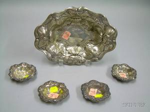 Gorham Sterling Silver Floral Decorated Serving Tray and a Set of Four Nut Dishes