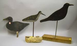 Two Painted Sheet Metal Shore Bird Decoys and a Painted Wooden Crow Figure