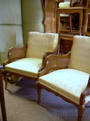 Pair of Louis XV Style Caned and Upholstered Beechwood Armchairs and Sofa Suite