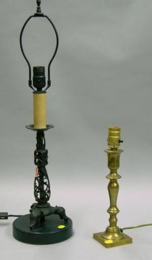 Brass Candlestick Table Lamp and a Chinese Iron Candlestick Table Lamp