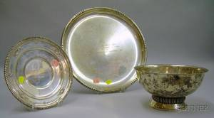 Fisher Sterling Silver Footed Bowl and Two Sterling Silver Presentation Trays