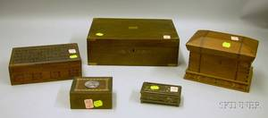Tiffany Studios Patinated Bronze and Slag Glass Stamp Box and Four Assorted Wooden Boxes