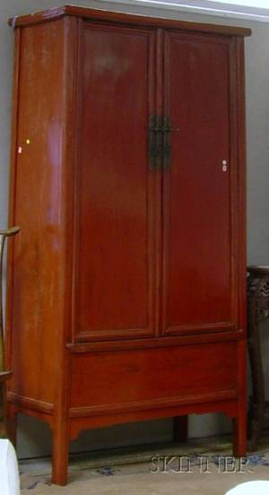 Chinese Red Lacquered TwoDoor Cabinet