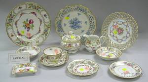 Eightythree Piece Assembled Schumann Porcelain Partial Dinner Service a Set of Six German Reticulated Floral