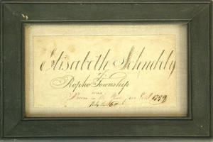 Watercolor and ink birth record for Elisabeth Schebely