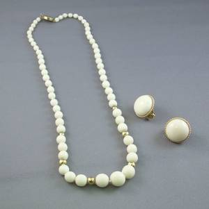 14kt Gold and White Coral Beaded Necklace and a Pair of 14kt Gold and White Coral Button Earclips