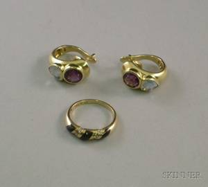 Pair of 14kt Gold Aquamarine and Amethyst Earrings and a 14kt Gold and Onyx Ring
