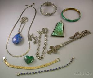 Group of Mostly Sterling Silver and Hardstone Jewelry Items