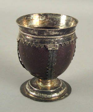 Georgian silver mounted coconut shell goblet late 18th c
