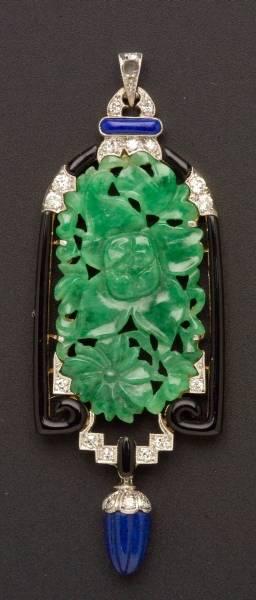Art Deco Jadeite Lapis Enamel and Diamond Pendant