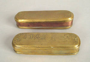 Two German embossed brass and copper snuff boxes 18th c