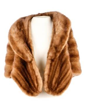 1950s Light Brown Mink Fur Bolero Stole