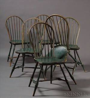 Set of Six Windsor Bowback Side Chairs