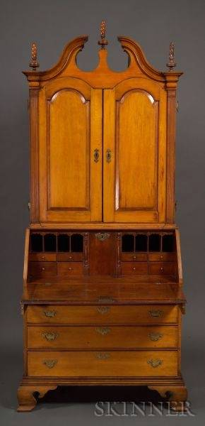 Chippendale Cherry Secretary Bookcase