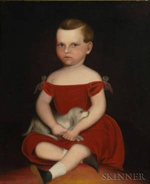 American School Mid19th Century Portrait of a Boy in a Red Dress with His Dog 18401850