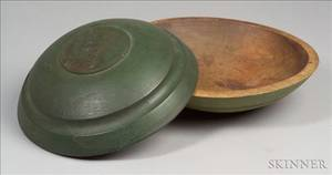Two Greenpainted Turned Wooden Bowls