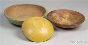 Three Painted Turned Wooden Bowls
