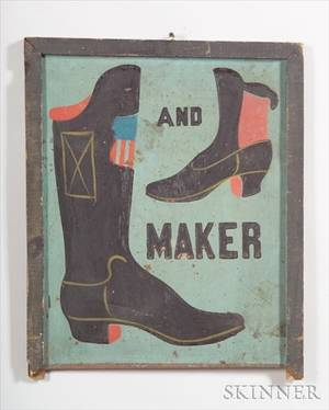 Polychrome Painted Tin Bootmakers Trade Sign