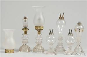 Six Colorless Blown and Pressed Glass Fluid Lamps