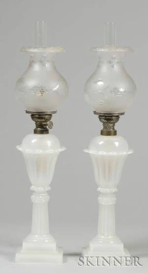 Pair of Clambroth Pressed Glass Tulip Fluid Lamps with Cut Glass Shades