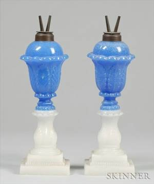 Pair of Blue and Clambroth Pressed Glass Acanthus Leaf Fluid Lamps