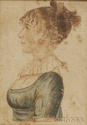 Portrait Miniature of a Woman in a Blue Dress