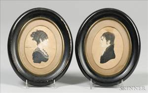 American School 19th Century Pair of Portrait Miniatures of Lieut William and Mary Shannon of New Hampshire