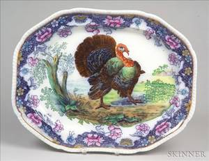 Large Polychrome Decorated Flow Blue Turkey Platter