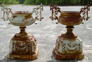 Pair of Victorian White Painted Cast Iron Urns on Plinths