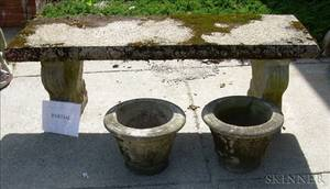 Pair of Cast Stone Benches and a Small Pair of Planters