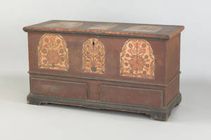 Lancaster County or Berks County Pennsylvania Compass Artist dower chest dated 1794