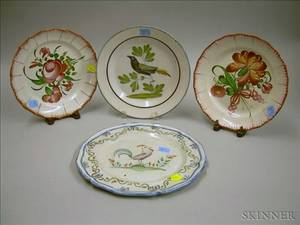 Four Continental Faience Plates