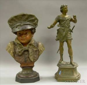 Continental Painted Plaster Bust of a Boy and a Patinated Cast Metal Statue of Siegfried