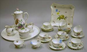 Twentyeight Piece Handpainted Floral Decorated Porcelain Demitasse Set and a Meissen Handpainted Lemon and F