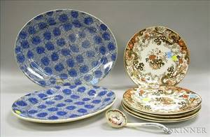 Pair of Floral Transfer Decorated Ironstone Platters a Set of Five Ridgways Plates and a Ladle